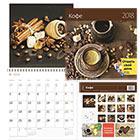 Календарь 2018 настенный перекидной на скрепке 12 листов 115 г м2 Контэнт 290х290 мм Кофе С цветными наклейками событий +2 карманных календаря